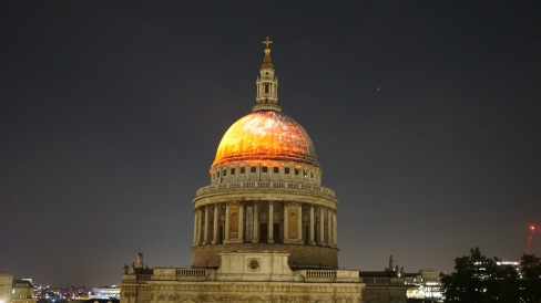 Images of the Great Fire is projected on to the dome St. Paul's Cathedral