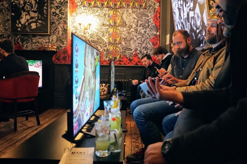 Fellow gamers playing Frantics on the PlayStation 4 at MEATMIssion.